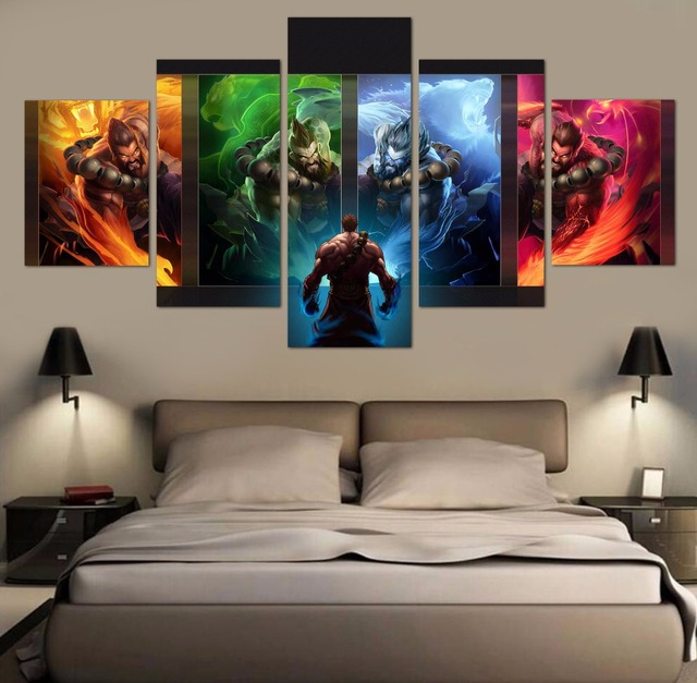 5 Pieces Modern HD Painting League of Legends game Painting Canvas Wall Art Picture Home Decoration Living Room Canvas Art 2
