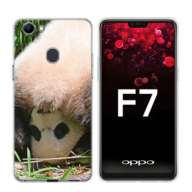 Transparent Soft Silicone Phone Case Chinese Panda in winter for OPPO F5 F7 F9 A5 A7 R9S R15 R17 Cover in Fitted Cases from Cellphones Telecommunications