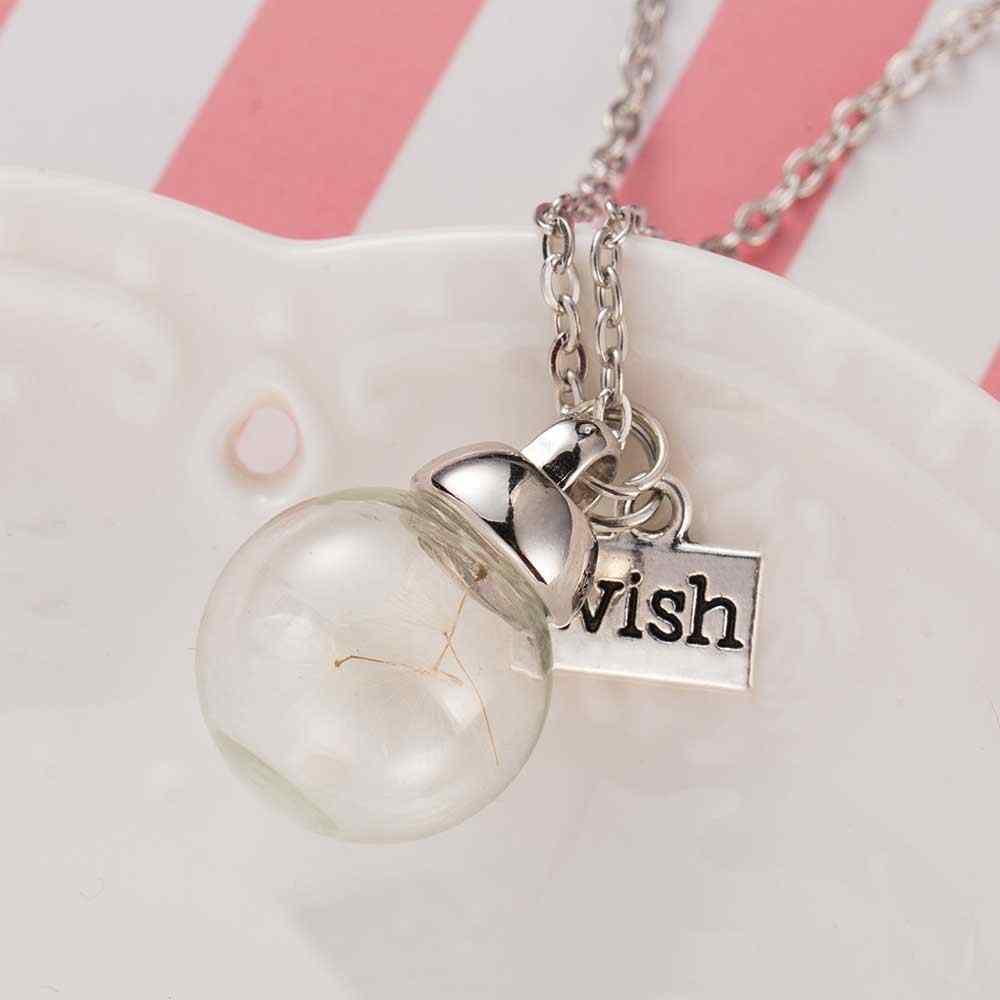 Botol Kaca Kalung Alami Dandelion Benih Di Kaca Panjang Kalung Membuat Keinginan Manik-manik Kaca Bola Berlapis Perak Kalung Perhiasan