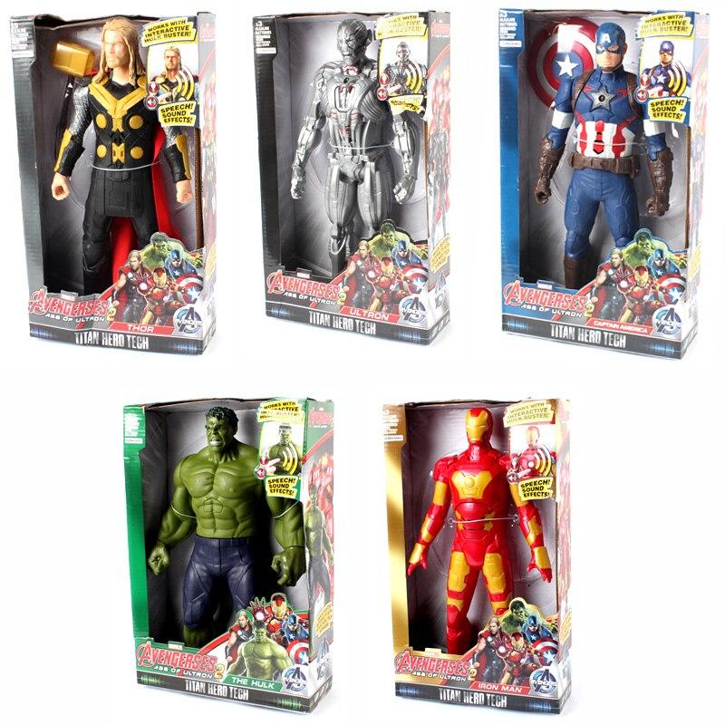 30cm 12inch New Movie Sound Light Super Heros Captain America Ironman Thor Hulk Model Toys Avengers Figure Toy Kids Gifts