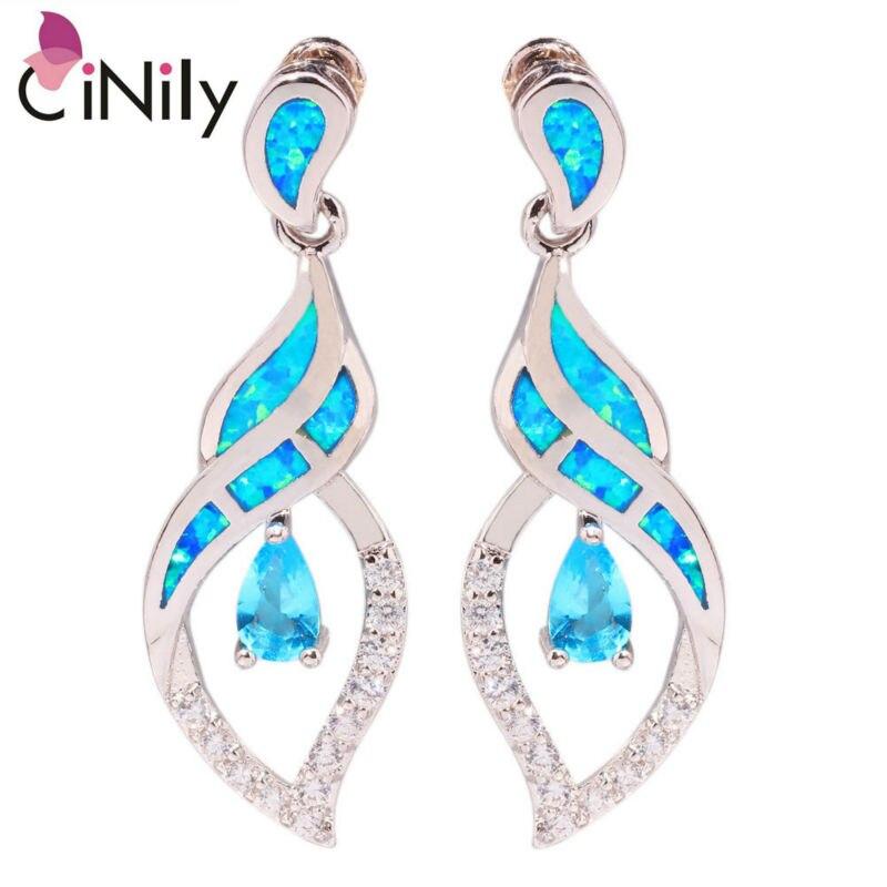 CiNily Ocean Blue Fire Opal Long Stud Earrings With Stone Silver Plated CZ Crystal Water Teardrop Earring Vintage Jewelry Woman