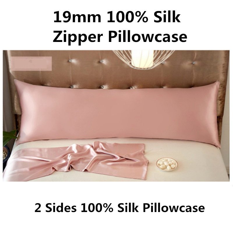 19mm Silk Long Zipper Pillowcase 1PC 100% Mulberry Silk Solid Color 2 Sides Silk Standard Queen King Custom Size