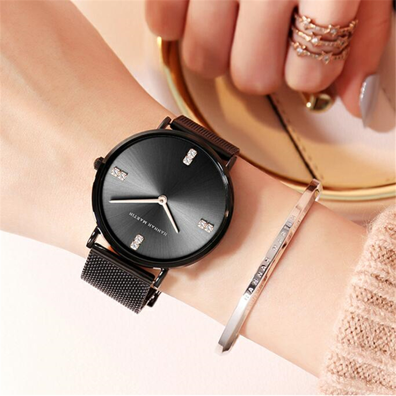 Hannah Martin Imported Japan Movement Women Watches Ultra thin Quartz Watch Woman Diamond Luxury Ladies Relogio Feminino