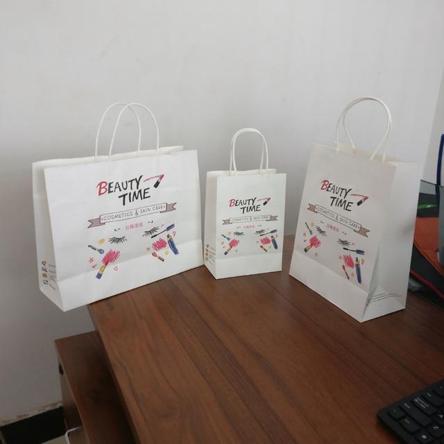 ea825b621 Atacado 500 pçs/lote boutique logotipo personalizado impresso sacos de papel  kraft/sacos de