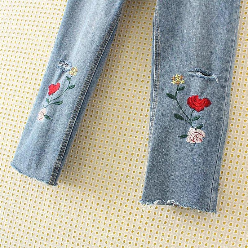 Nouvelle 2017 Broderie Cheville Femmes Fleur Pancil Haute Bleu Taille La Automne Pour Edencomer Plus Jeans Pantalon Évider Denim longueur zpBBPqx4