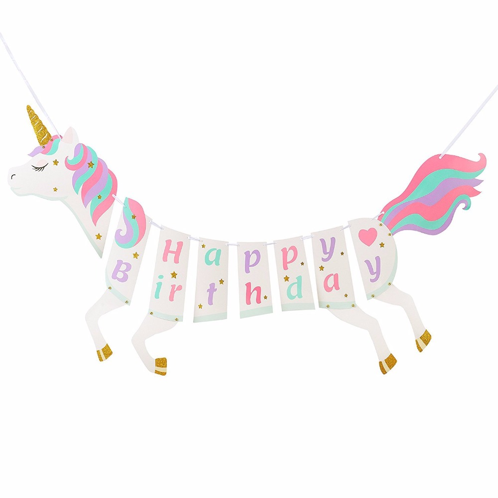Glitter Paper Birthday Party Hanging Bunting Banner Flag: 2018 Glitter Happy Birthday Unicorn Banner DIY Paper