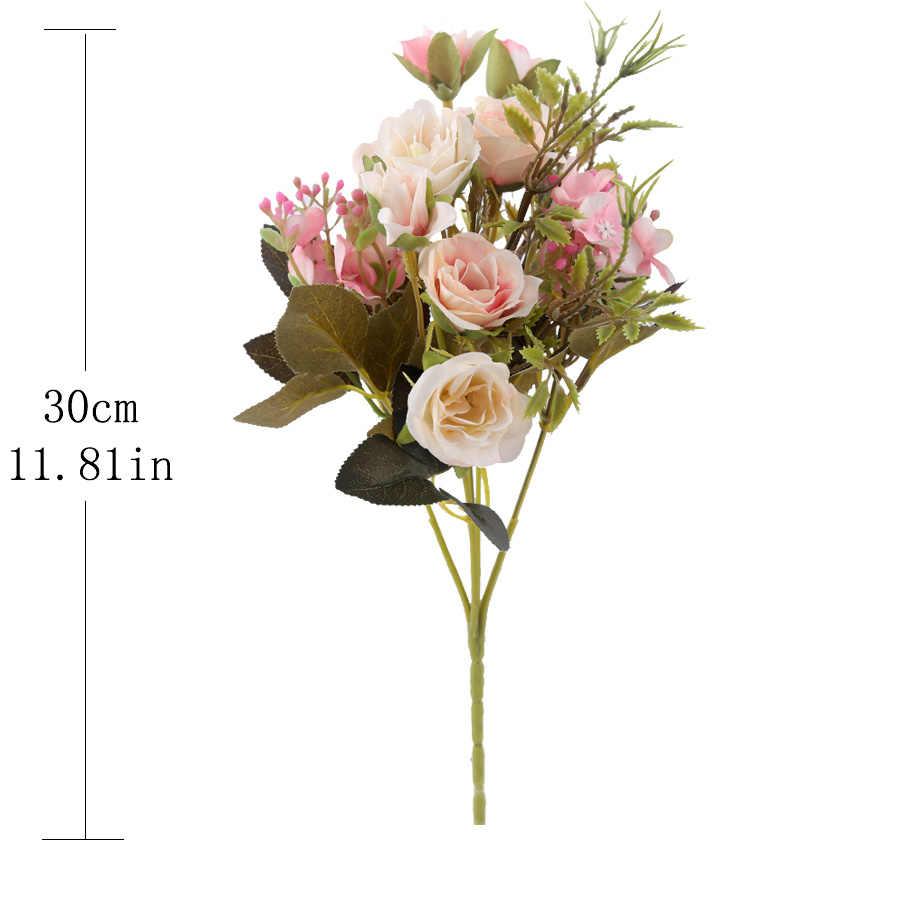 Palsu gypsophila bouquet hydrangea roses bunga buatan kualitas tinggi daun aksesoris untuk natal dekorasi rumah pernikahan