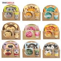 5 ピース/セットベビー食器食器セット天然竹繊維ボウルとカップスプーンプレートフォーク供給子供のための道具 t0377