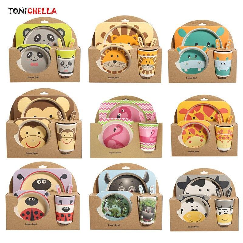 5 teile/sätze Baby Gericht Geschirr Set Natürliche Bambus Faser Schüssel Mit Tasse Löffel Platte Gabel Fütterung Gerichte für Kinder Utensilien t0377