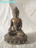 High 30CM buddha sculpture!!!Asian antique art collection home decoration crafts,chinese old copper Medicine Buddha statue