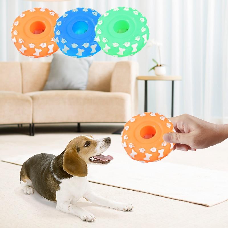 10cm Colorful Footprints Tires Rubber Pet Sound Vent Toys Dogs Resistant Bite Training Outdoor Game Pet Toy Random