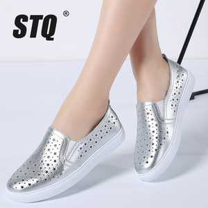 Image 1 - STQ 2020 Summer Women Flats Sneakers Ballet Flats Oxfords Shoes Slip On Loafers Casual Shoes Women White Silver Boat Shoes 6688