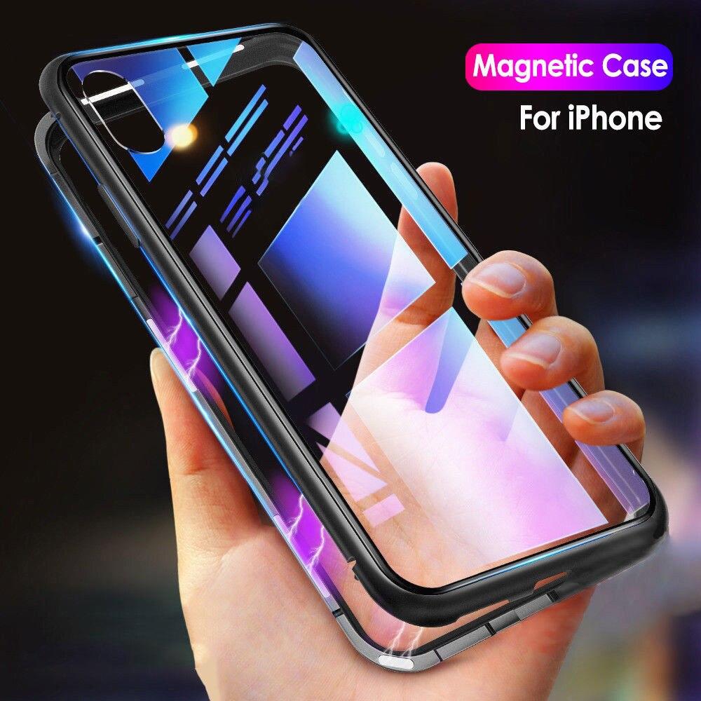 Adsorción magnética de Metal Flip teléfono casos para iPhone X XS X XR XS MAX 7 8 Plus claro atrás de vidrio templado templado de la cubierta de la nebulosa