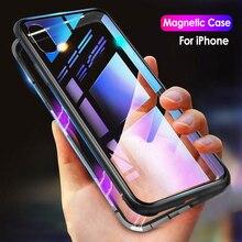 Магнитная адсорбции Металл флип телефонные чехлы для iPhone X XS XR XS MAX 7 8 плюс прозрачная задняя закаленное стекло ударопрочный чехол capinhas