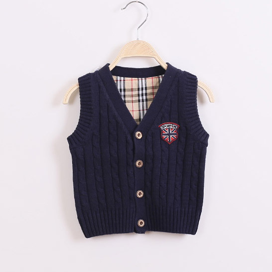 kids cardigan knitted sweater 2017 Spring Autumn Children  sweater V-neck baby boy sweater vest red sweater