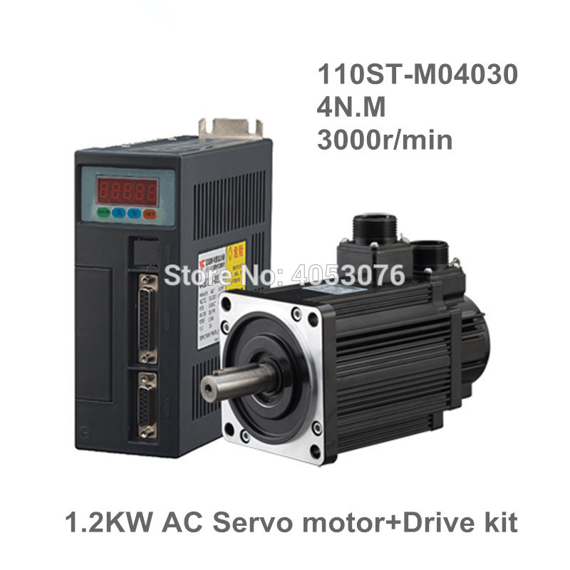 110ST-M04030 220V 1.2KW AC Servo motor 3000RPM 4N.M. 1200W Single-Phase ac drive permanent magnet Matched Driver AASD-30A