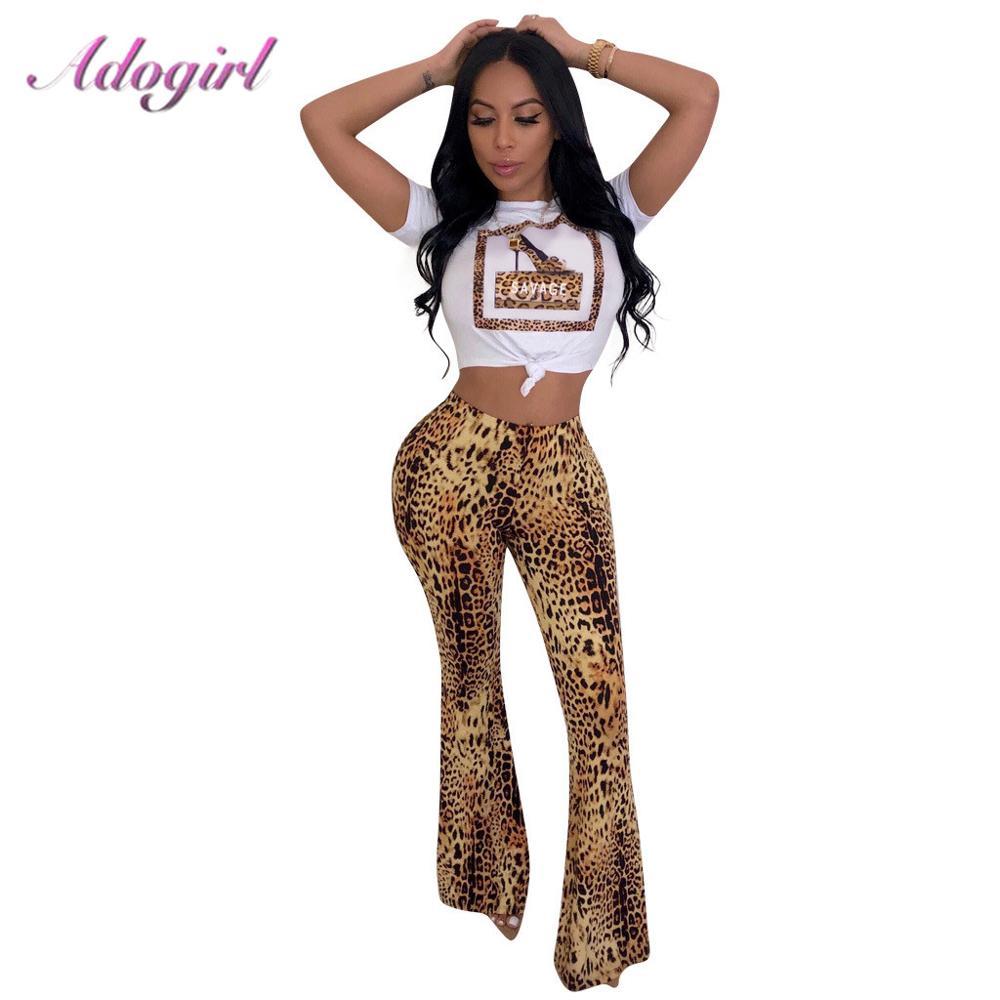 Casual Leopard Print Two Piece Sets Women Short Sleeve T-Shirt Crop Top+ Leopard Wide Leg Pants Set Suit Femme Outfit Tracksuit