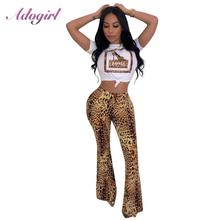 купить Casual Leopard Print Two Piece Sets Women Short Sleeve T-Shirt Crop Top+ Leopard Wide Leg Pants Set Suit femme Outfit Tracksuit по цене 852.57 рублей