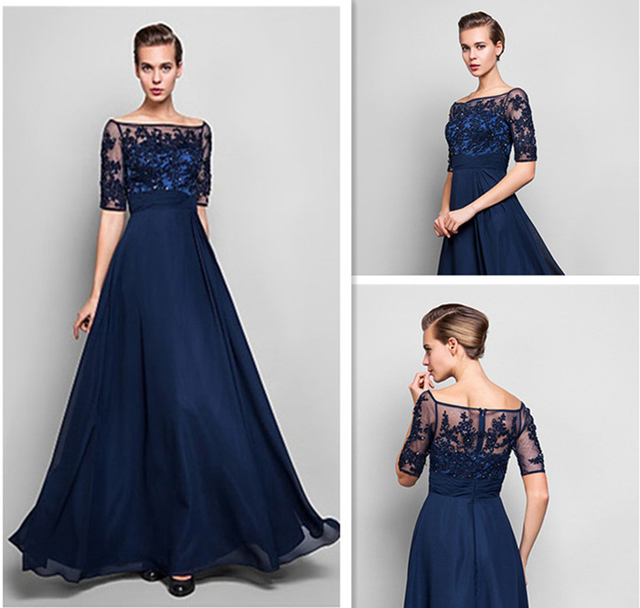 3bd34de0b6 2015 Half Sleeve Boat Neck Off Shoulder A Line Navy Blue Lace Chiffon Long  Formal Sequin Lace Evening Dress Vestidos De Festa