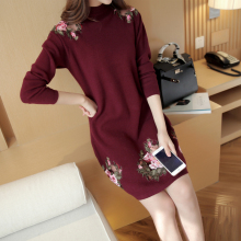 2016 spring new women's Korean all-match in the long section of embroidery lace stitching half Polo neck sweater