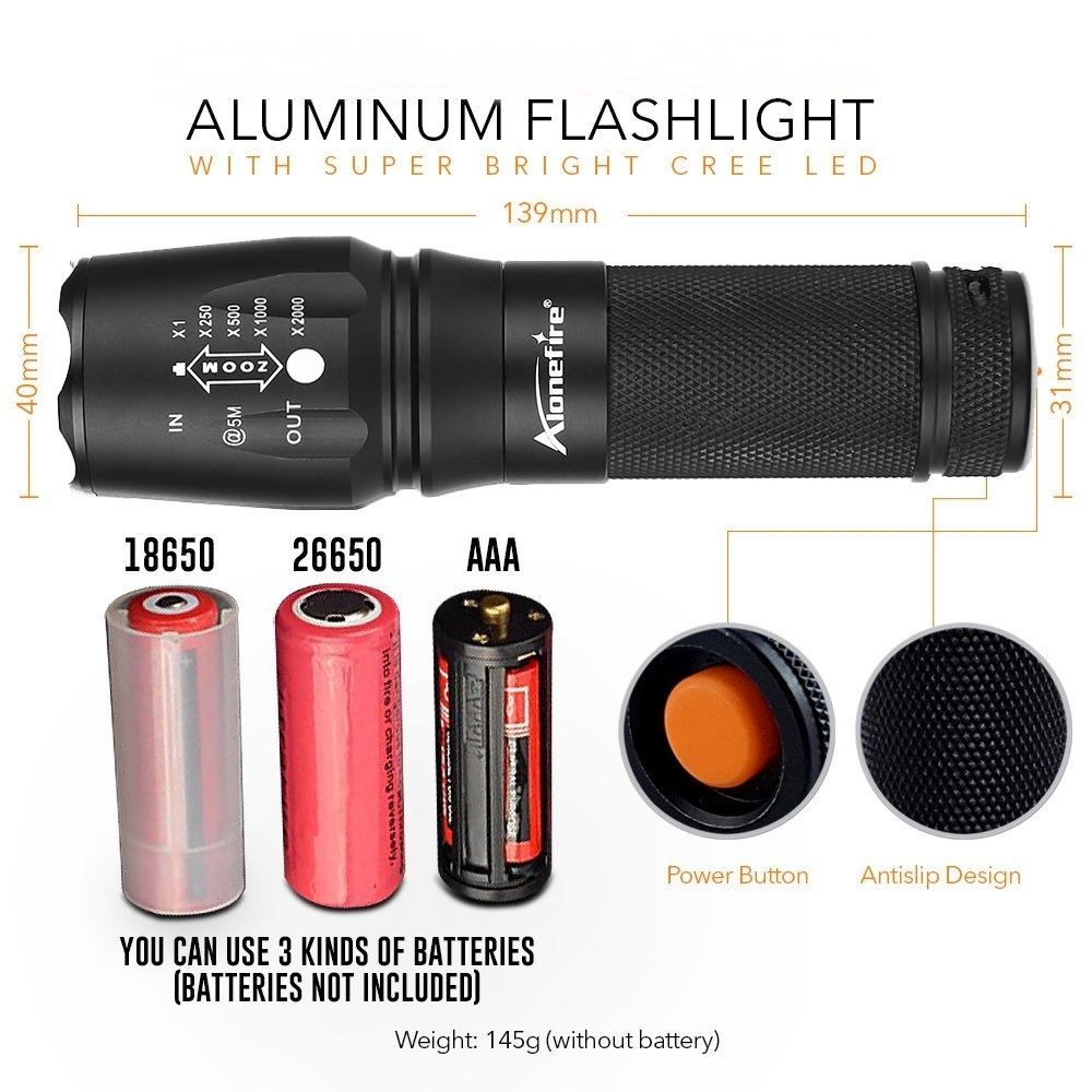 Купить с кэшбэком ALONEFIRE X800 Zoom Cree XM-L2 T6 led Zaklamp torch lantern Defensive Tactical flashlight night light 26650 Rechargeable battery