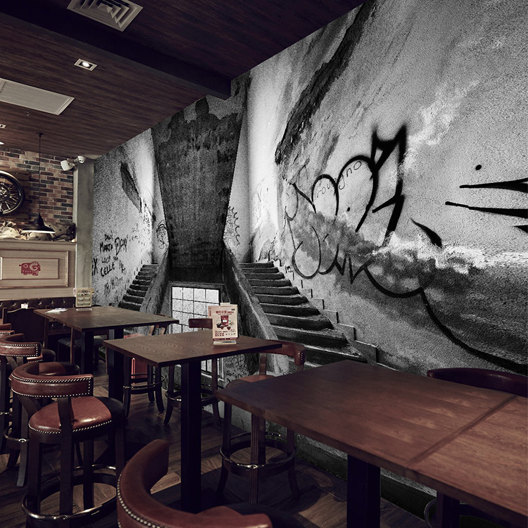 Free shipping 3d cement ash industrial wind graffiti for Ash wallpaper mural