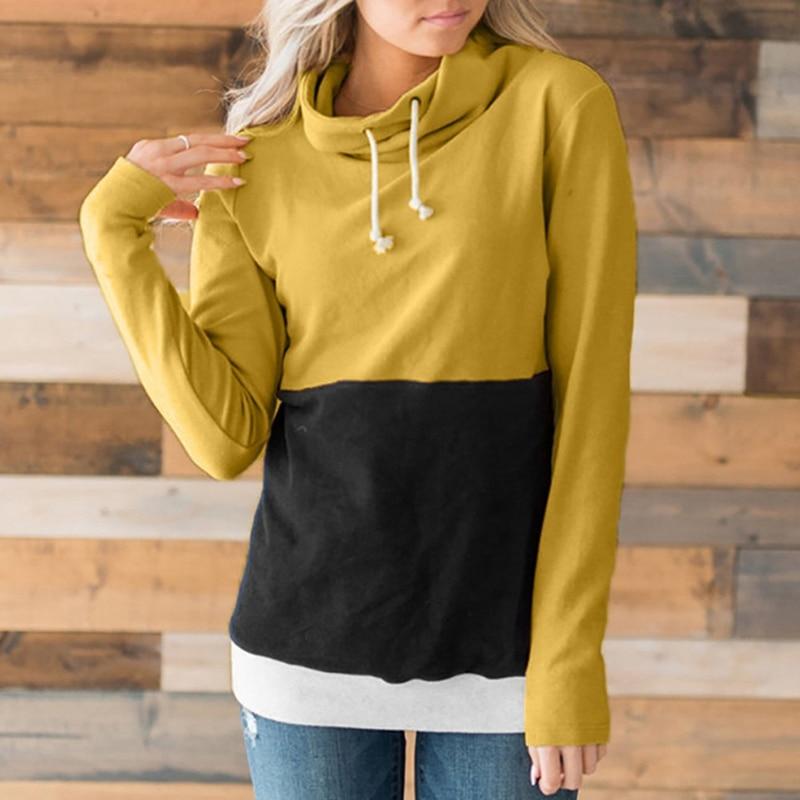 Harajuku Hoodies Sweatshirt Women Casual Slim Hoody Patchwork Color Turtleneck Female Pullovers Sudaderas Para Mujer