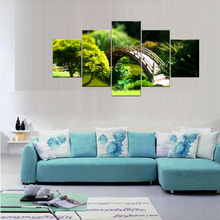 5 Pieces The Beauty Of Poetic Wood Bridge Scenery Through Forest Modern Wall Art Picture Print Painting For Bedroom Frame
