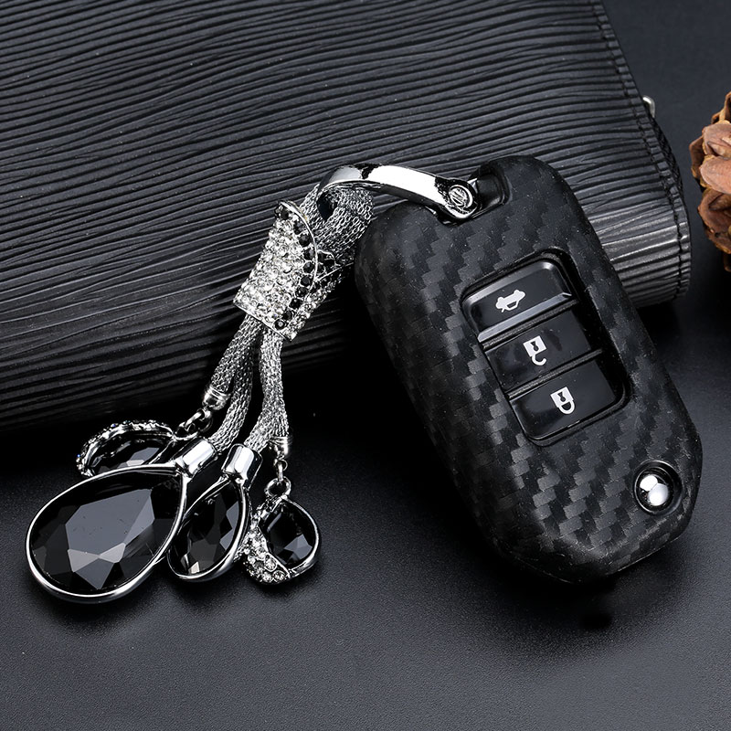 Image 2 - 2019 New Carbon Fiber Silica gel Key Cover Case For Honda 2016 2017 CRV Pilot Accord Civic Car Shell Auto Key keychain keyring-in Key Case for Car from Automobiles & Motorcycles