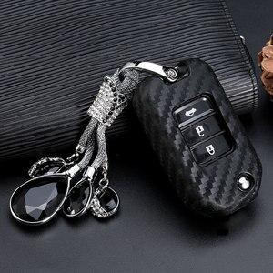 Image 2 - 2019 New Carbon Fiber Silica gel Key Cover Case For Honda 2016 2017 CRV Pilot Accord Civic Car Shell Auto Key keychain keyring