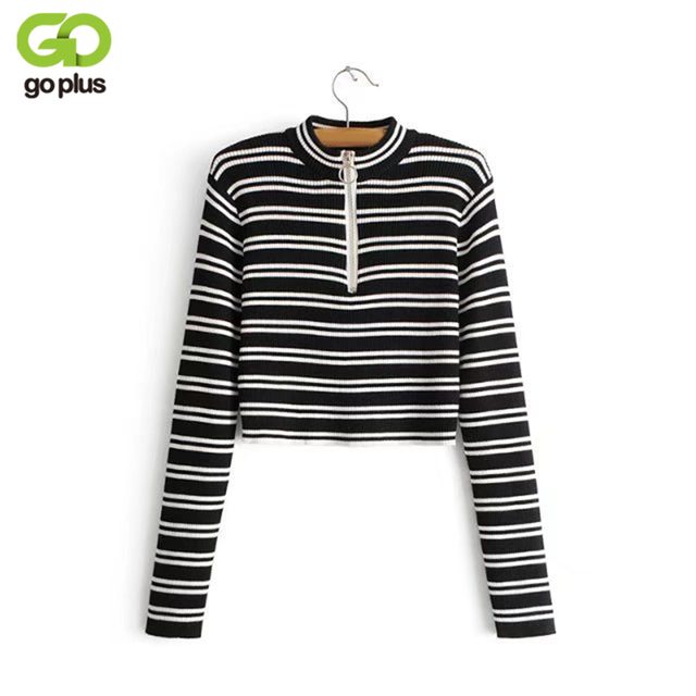 GOPLUS Cropped Sweater Women Long Sleeves Black White Striped Spring  Turtleneck Tops Slim Short Pullovers C4813 3d085bd46
