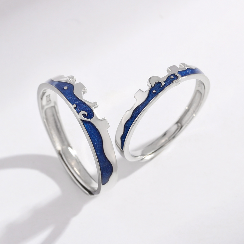 925 Ring Sterling Silver 925 Real Jewelry Finger Couple Rings For Lovers Women And Men Adjustable Blue Enamel Ring in Rings from Jewelry Accessories
