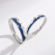925 Ring Sterling Silver Real Jewelry Finger Couple Rings For Lovers Women And Men Adjustable Blue Enamel