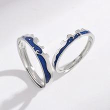 925 Ring Sterling Silver 925 Real Jewelry Finger Couple Rings For Lovers Women And Men Adjustable Blue Enamel Ring цена в Москве и Питере