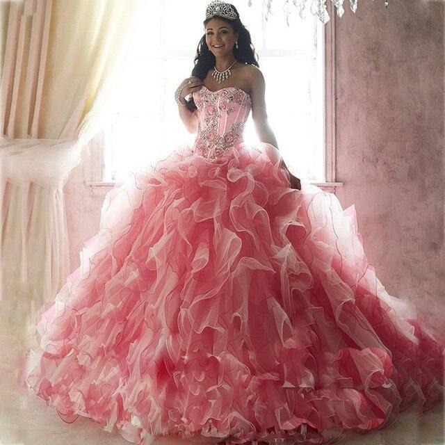 Fashion pink sweet 16 vestidos de bola vestidos de quinceañera ...