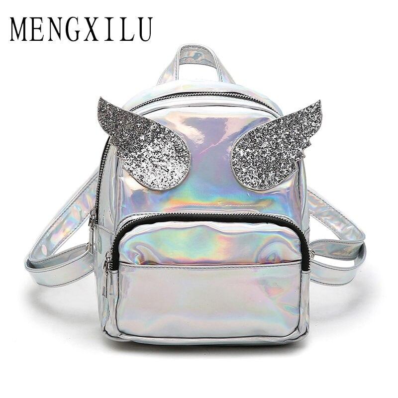 MENGXILU 2018 Wings Masculina backpack Women Silver Hologram Laser Women Backpack mens Bag leather Holographic Backpack Mochila