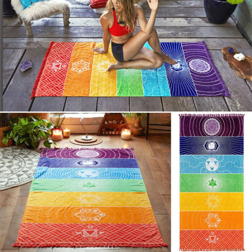 Yoga Towel Chakra: 2018 New Fashion Hot Popular Rainbow Chakra Tapestry Towel