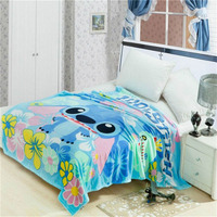 disney Lilo Stitch blanket thin soft flannel fabric 150*200cm bed spreads teens boy girl Sofa Plane Travel cartoon blanket gifts