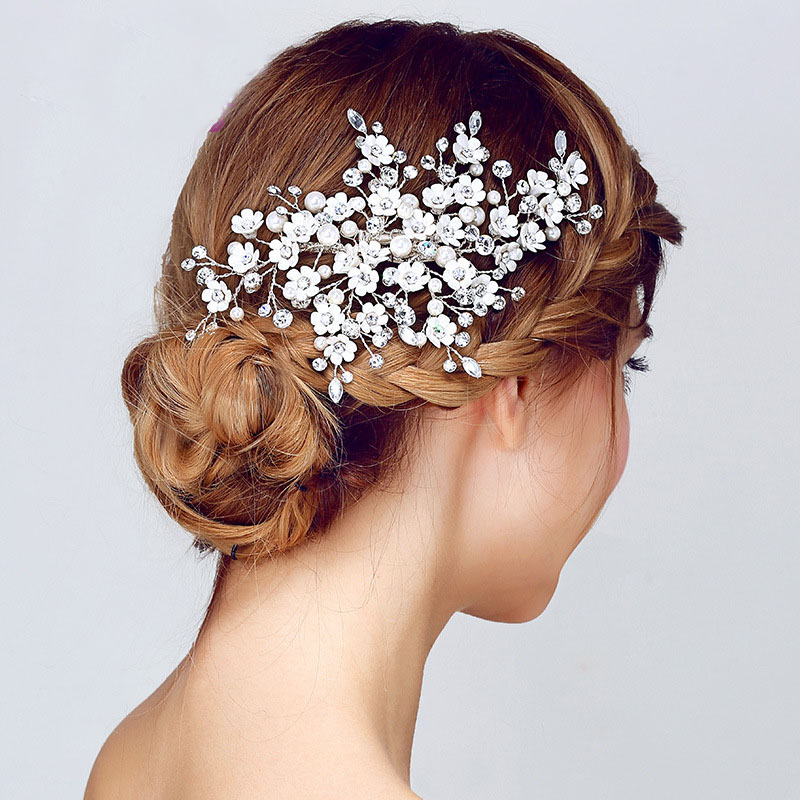 SLBRIDAL Handmade Clear Crystal And Pearls Flower Wedding Hair Clip Barrette Bridal Headpiece Hair accessories Bridesmaids Women fashion barrette baby hair clip 10pcs cute flower solid cartoon handmade resin flower children hairpin girl hairgrip accessories