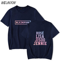 WEJNXIN Kpop Blackpink T Shirt Women Men Short Sleeve Cotton Blackpink Team Member Member Name Printed T-shirt Camisetas(China)