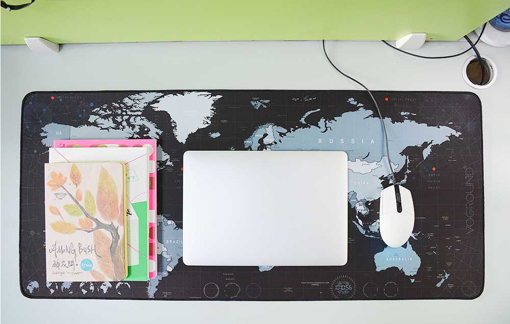 Desk-sized World Map Mouse Pad