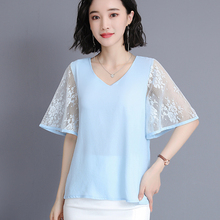 Korean Fashion Chiffon Women Blouses Lace Short Sleeve White Shirts Plus Size Womens Tops and Ladies