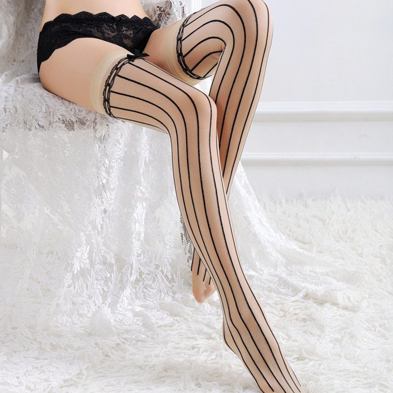 Porn Sexy Stocking Lace Bowknot Stripe Thigh High Stockings Over The Knee Socks Female Sexy Costumes Pantyhose Plus Size