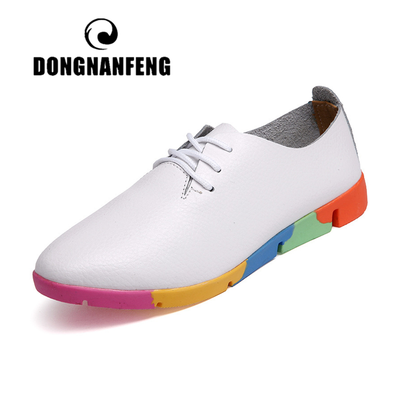 DONGNANFENG Women Mother Female Ladies Shoes Flats Loafer Cow Genuine Leather Soft Pigskin Casual Lace Up Footwear 35-44 AZE-910