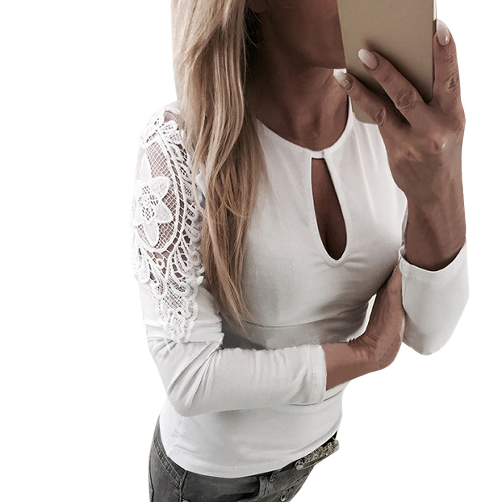 Fashion 2018 New T Shirt Women Casual Lace Patchwork Crop Top O Neck T Shirt White -3910