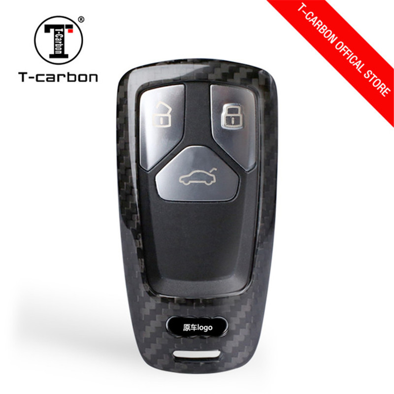 Carbon Fiber Car Key Case Shell for Audi A4 A5 Allroad B9 Q5 Q7 TT TTS