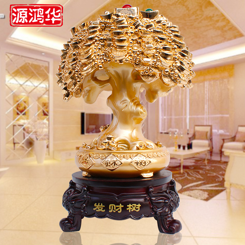 home decoration accessories Electroplating resin crafts rich tree ornaments shop opened business gifts Furnishing living room