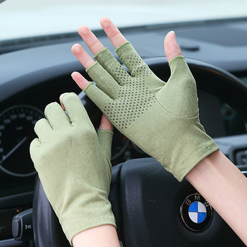 Suede Sunscreen Gloves Male Female Summer Thin Short Style Semi-Finger Driving Non-Slip Gloves For Man Woman SZ007W crocs classic unisex for male for female man woman tmallfs tmallfs shoes