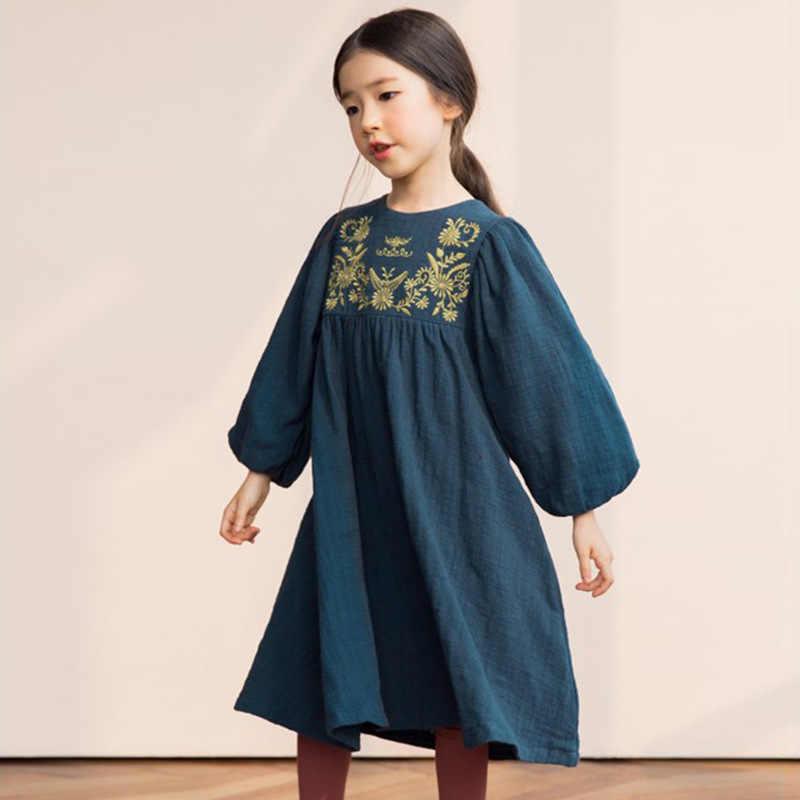 Vestidos De Manga Larga Para Niñas Y Adolescentes Vestido De Navidad De Marca 2018 Con Bordado De Algodón Vestidos De Otoño Ropa Para Niños
