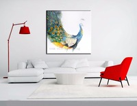 High Quality Handmade Modern Colorful Beautiful Peacock Oil Painting On Canvas Hand Painted Abstract Animal Birds